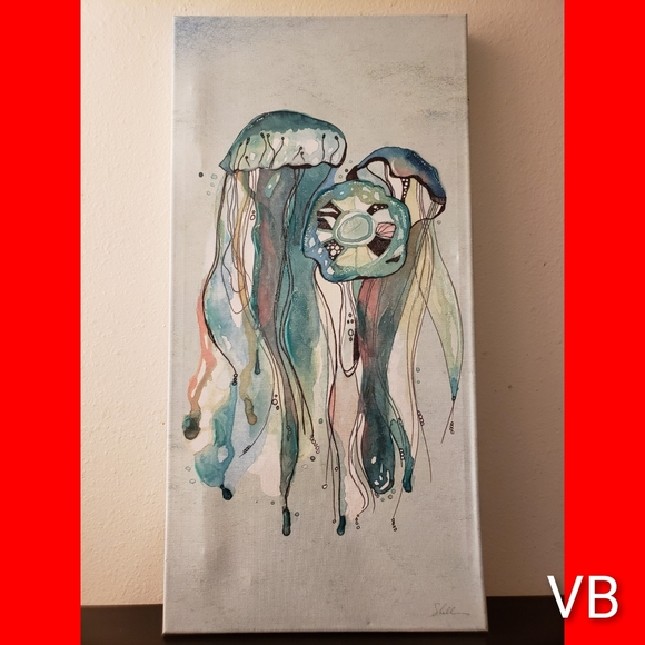 Coastal Hand Painted Jellyfish Canvas Wallart.